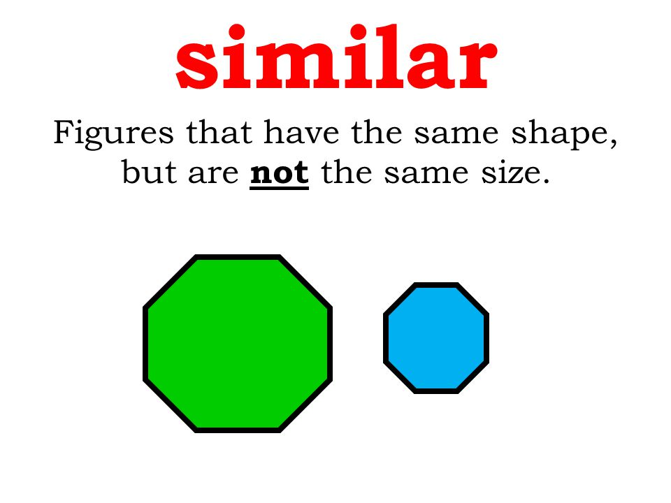 similar Figures that have the same shape, but are not the same size.