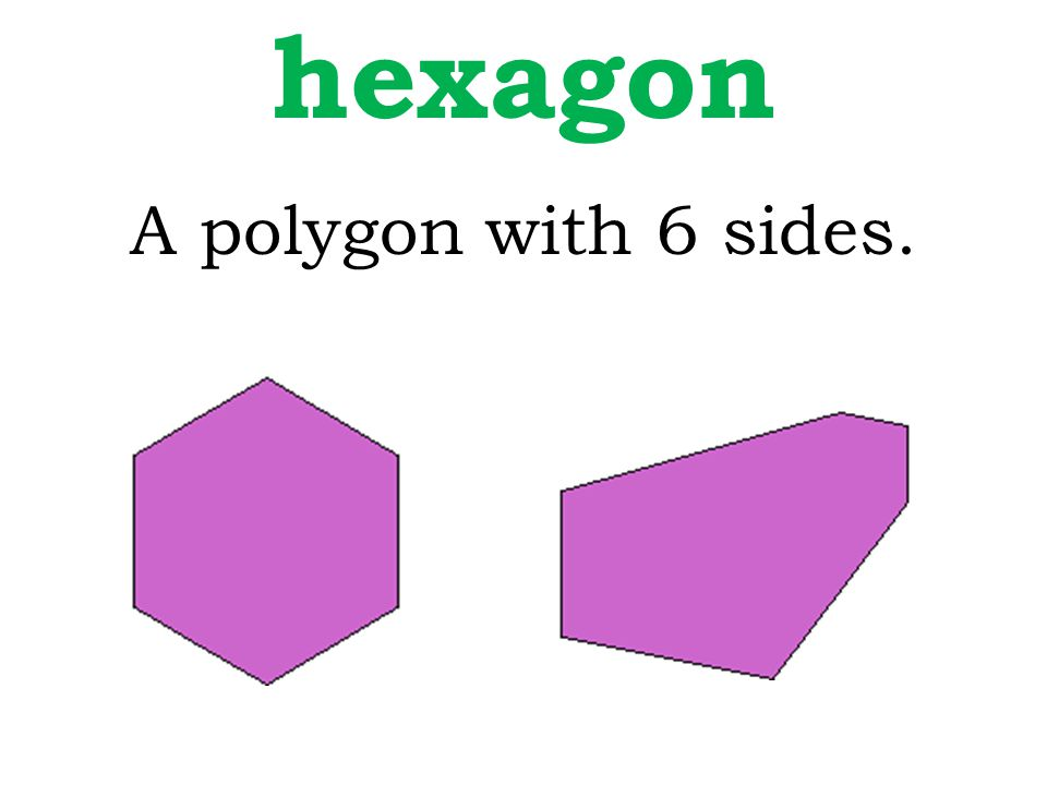 hexagon A polygon with 6 sides.