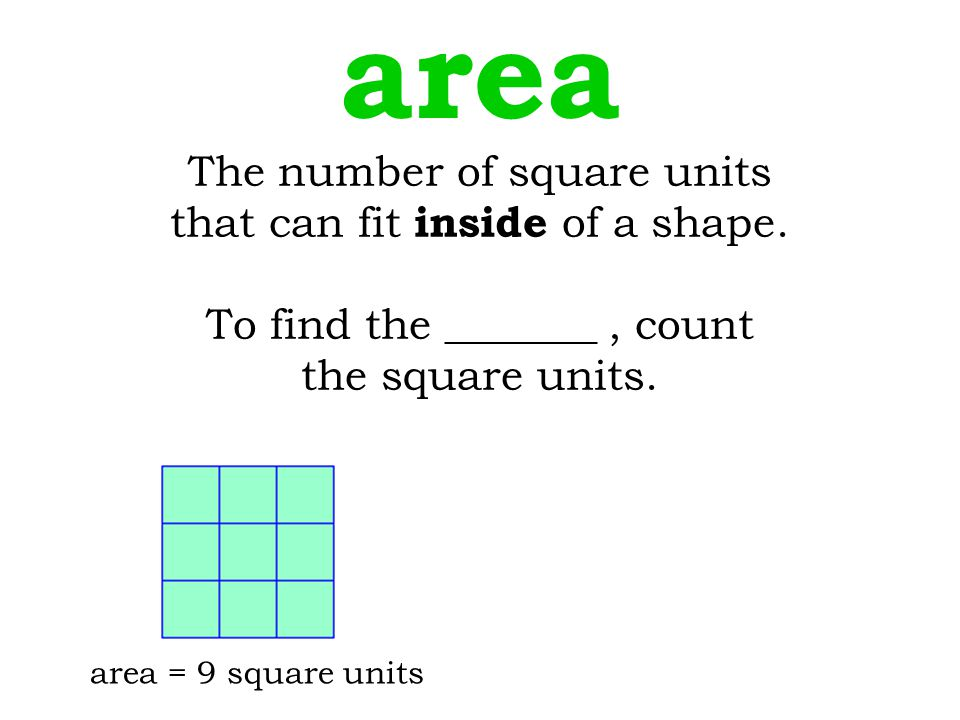 area The number of square units that can fit inside of a shape.