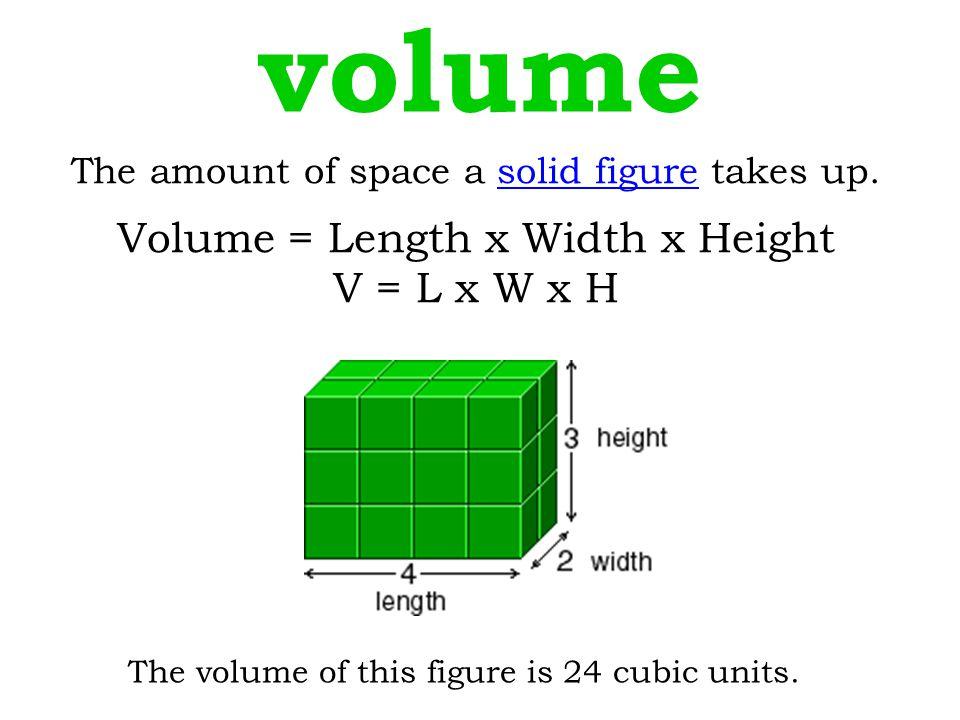 volume Volume = Length x Width x Height V = L x W x H