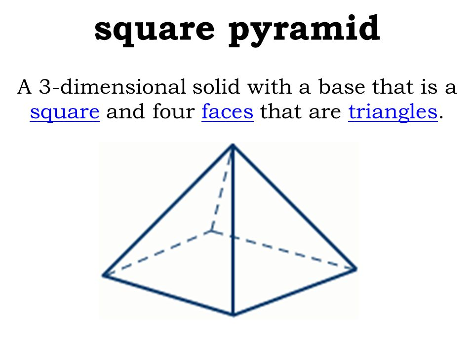 square pyramid A 3-dimensional solid with a base that is a square and four faces that are triangles.