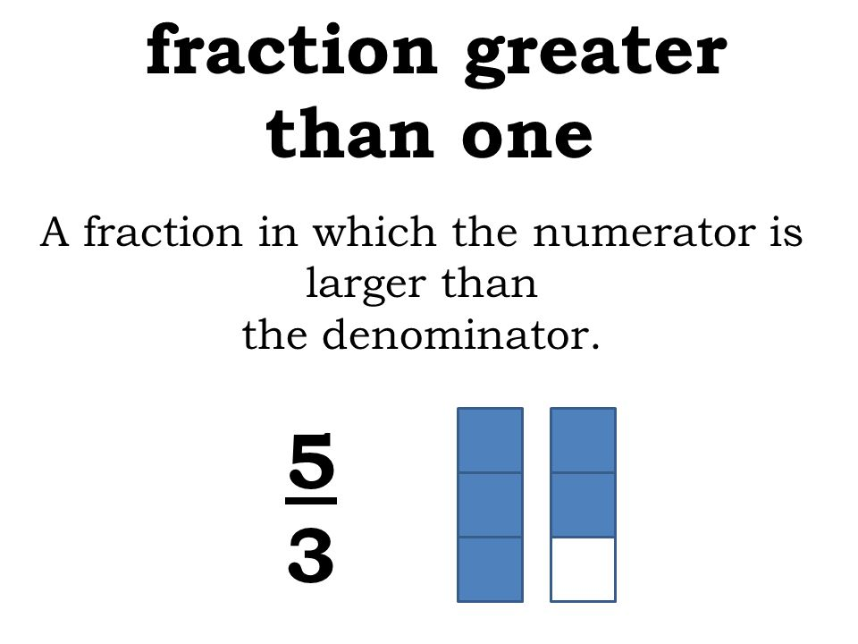 A fraction in which the numerator is larger than