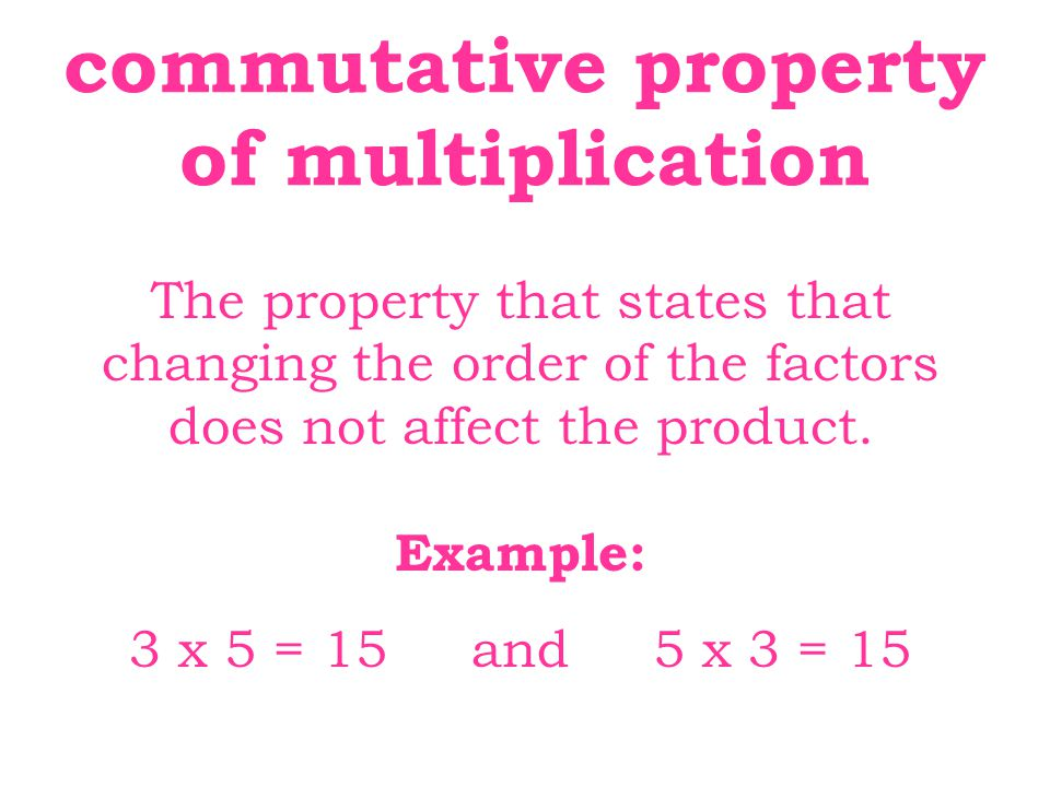 commutative property of multiplication The property that states that
