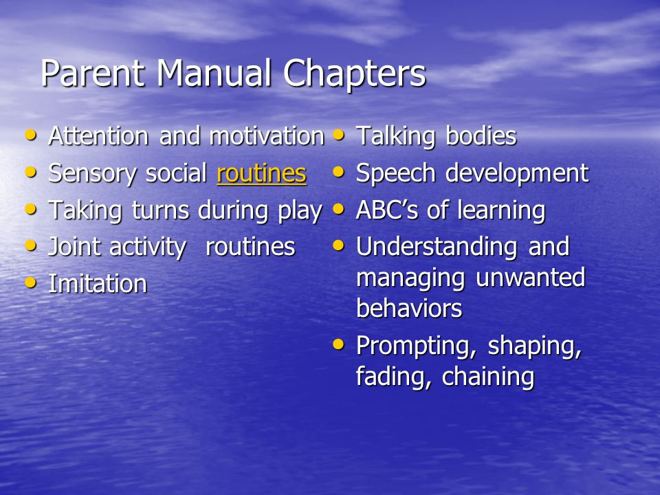 Parent Manual Chapters