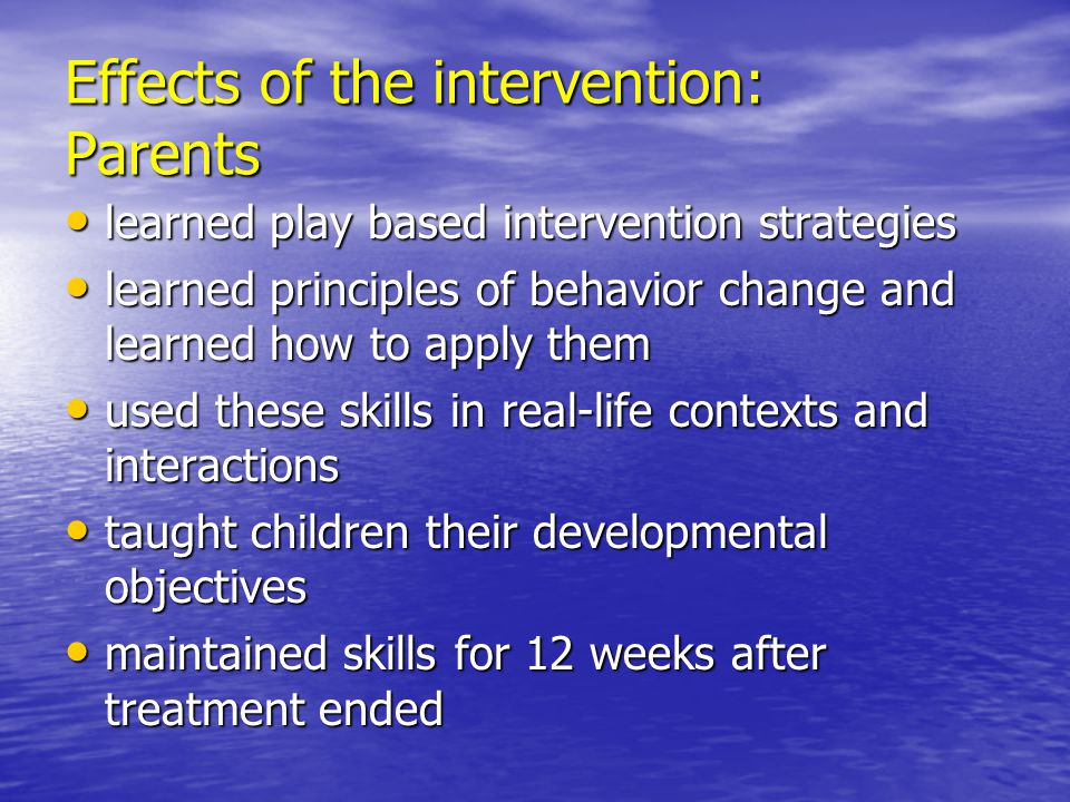 Effects of the intervention: Parents
