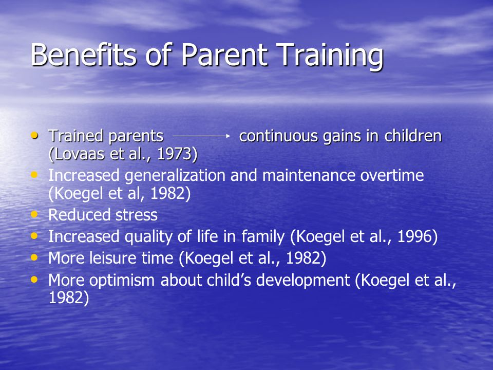 Benefits of Parent Training