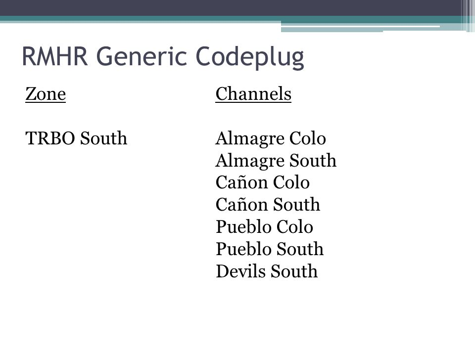 RMHR Generic Codeplug Zone Channels TRBO South Almagre Colo