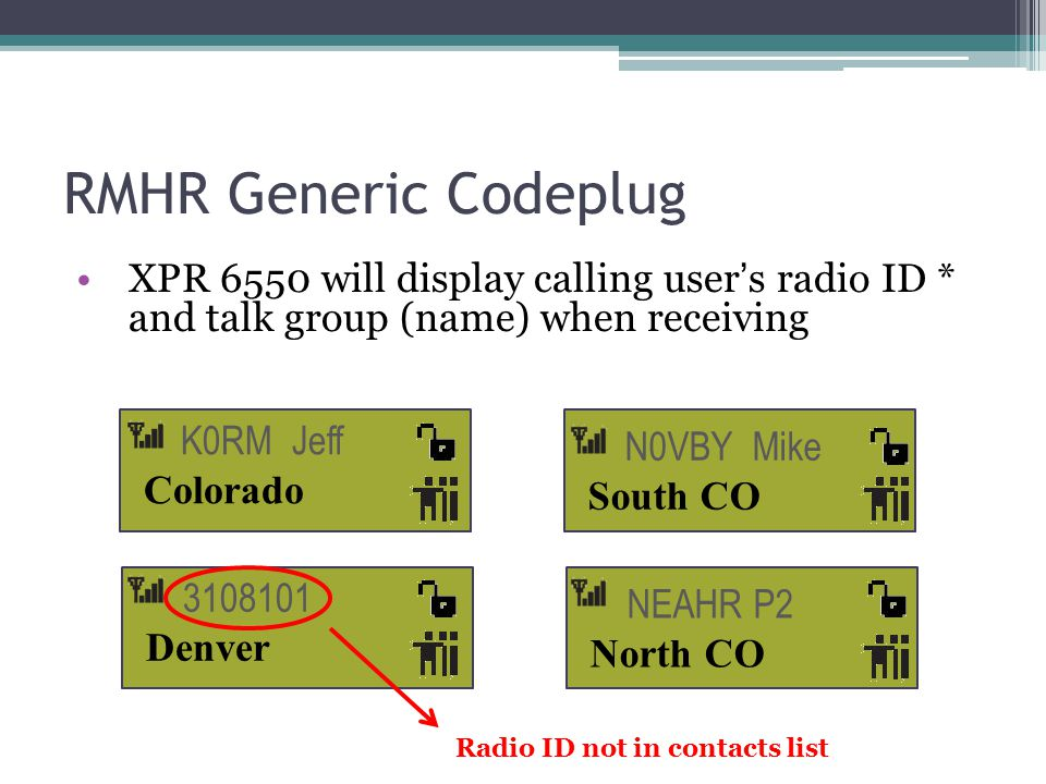 RMHR Generic Codeplug XPR 6550 will display calling user's radio ID * and talk group (name) when receiving.