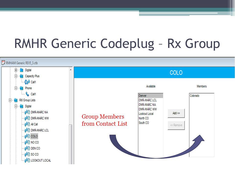 RMHR Generic Codeplug – Rx Group