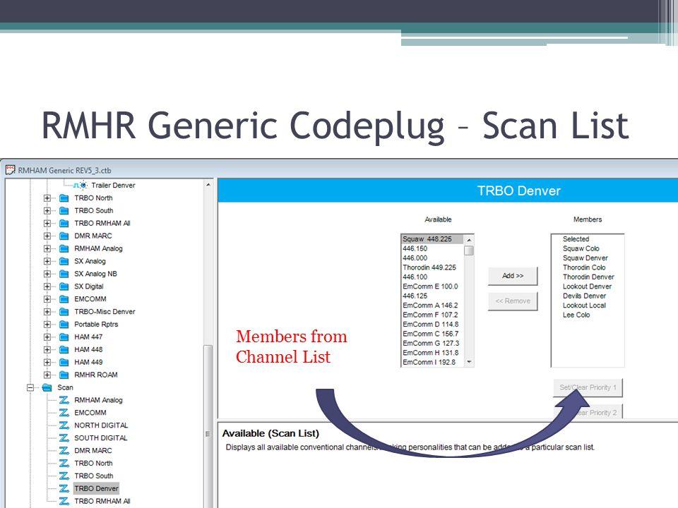 RMHR Generic Codeplug – Scan List