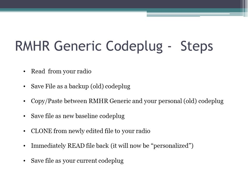 RMHR Generic Codeplug - Steps