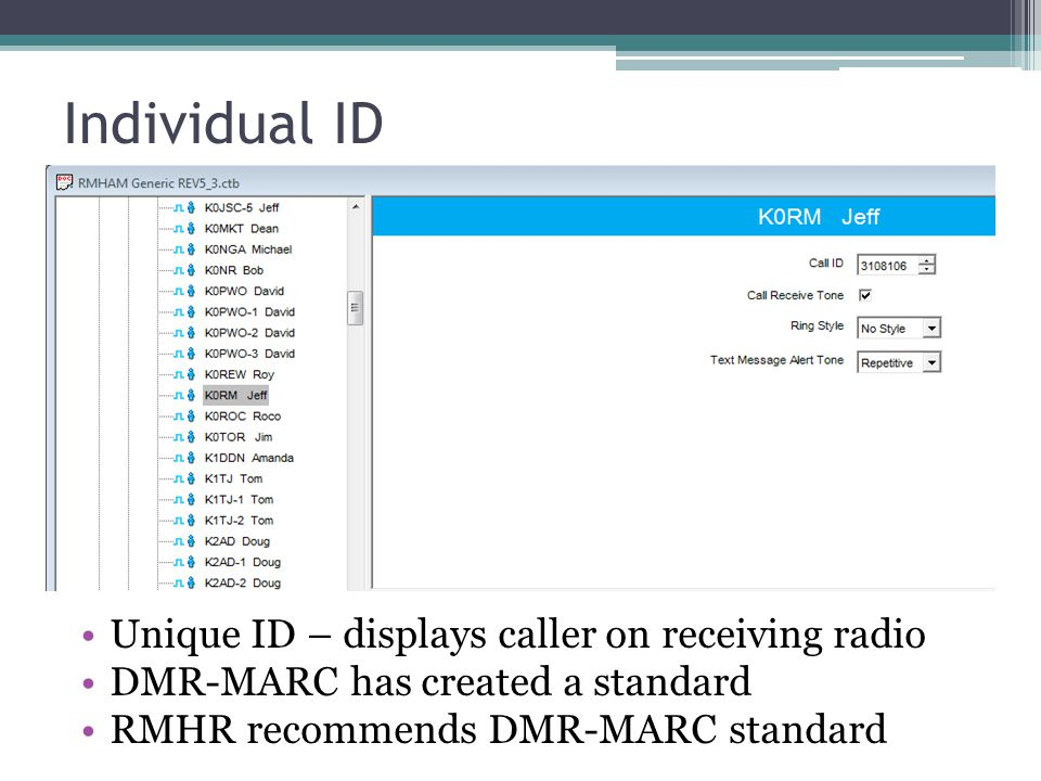 Individual ID Unique ID – displays caller on receiving radio