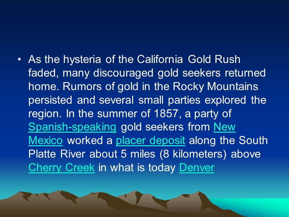 As the hysteria of the California Gold Rush faded, many discouraged gold seekers returned home.