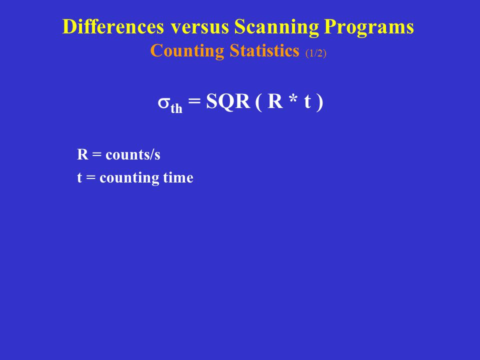 Differences versus Scanning Programs Counting Statistics (1/2)