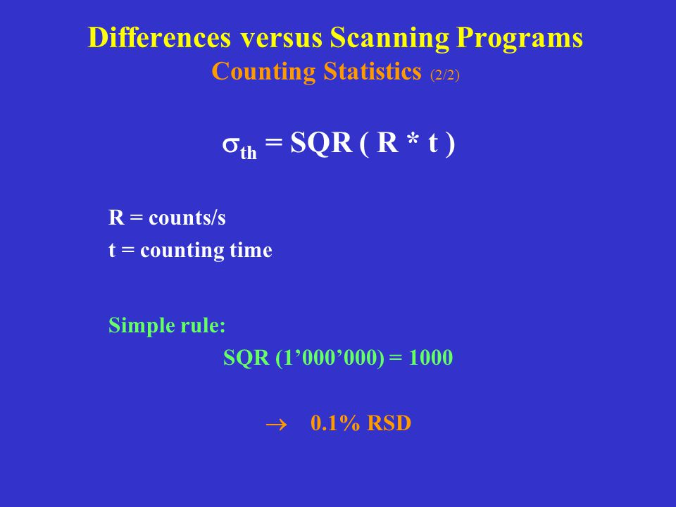 Differences versus Scanning Programs Counting Statistics (2/2)
