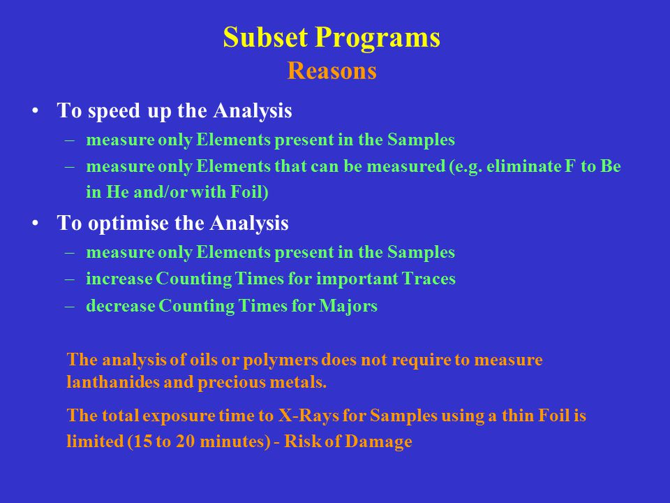 Subset Programs Reasons