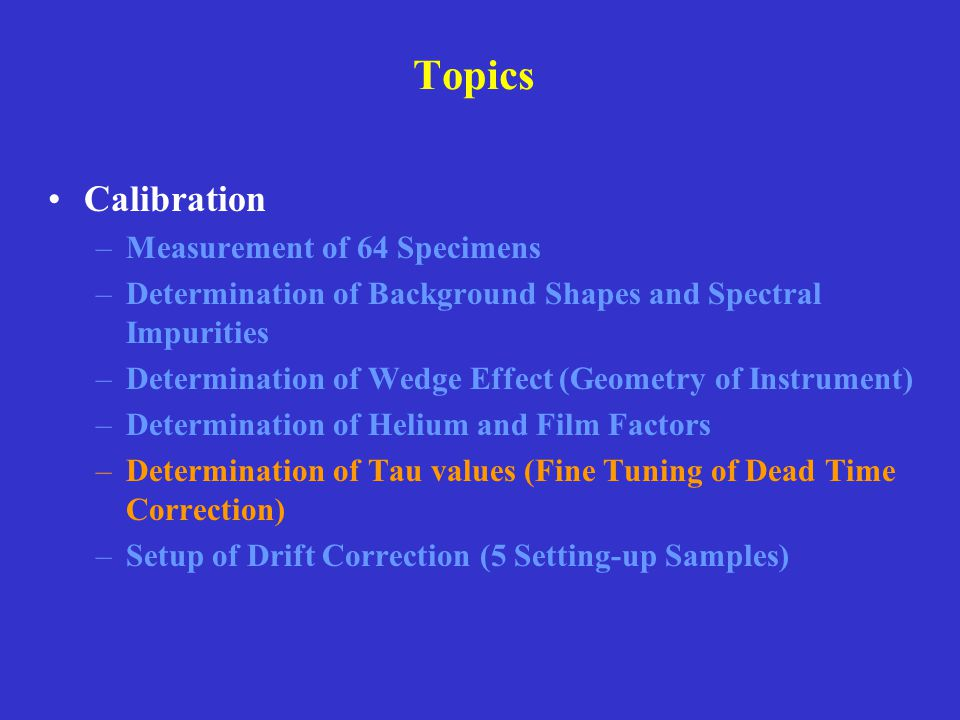Topics Calibration Measurement of 64 Specimens