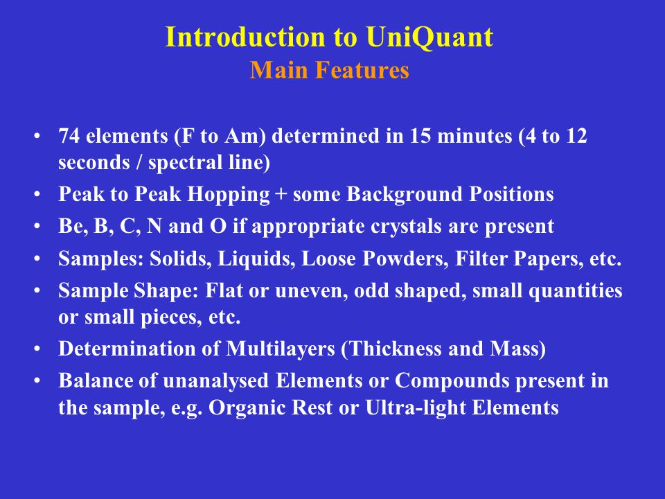Introduction to UniQuant Main Features