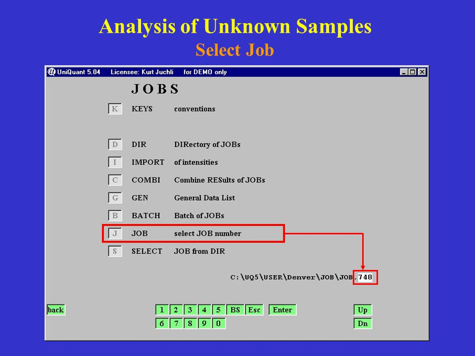 Analysis of Unknown Samples Select Job