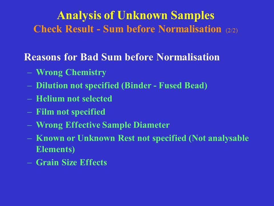 Analysis of Unknown Samples Check Result - Sum before Normalisation (2/2)