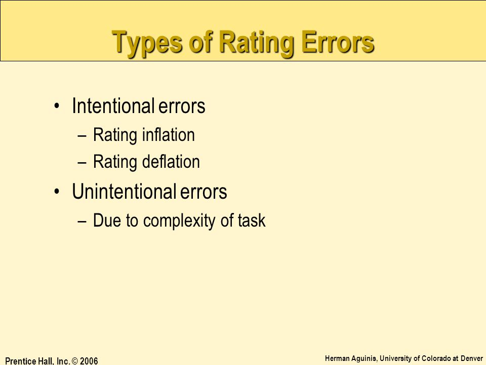 Types of Rating Errors Intentional errors Unintentional errors