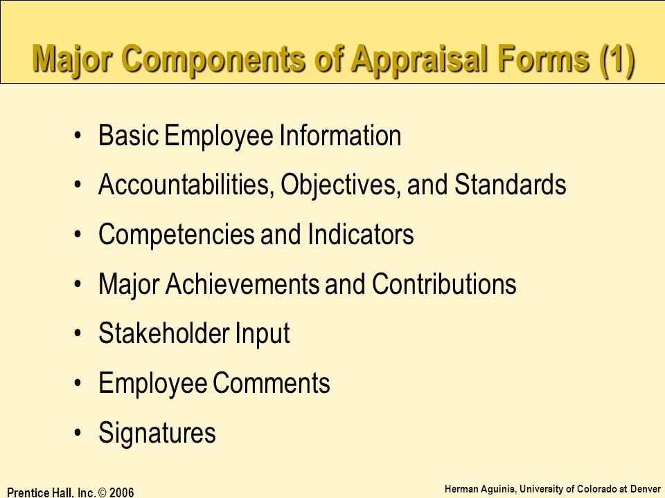 Major Components of Appraisal Forms (1)