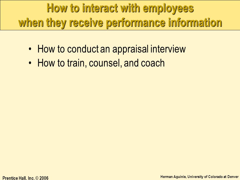 How to interact with employees when they receive performance information
