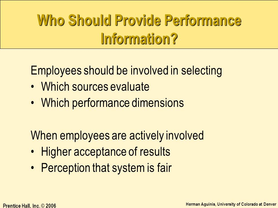 Who Should Provide Performance Information