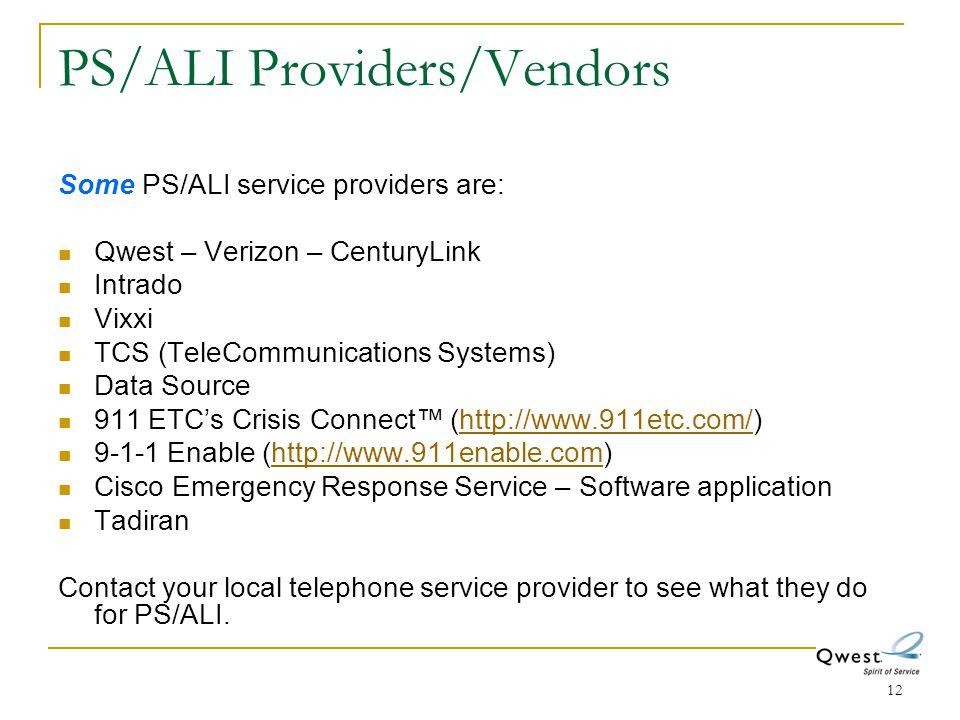 PS/ALI Providers/Vendors
