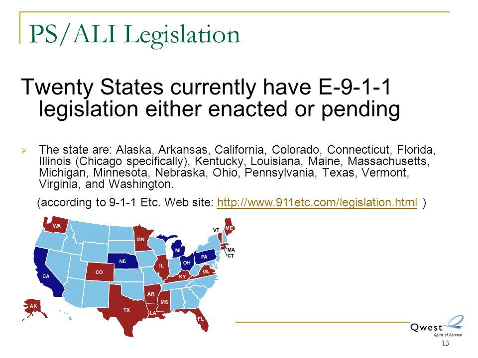 PS/ALI Legislation Twenty States currently have E-9-1-1 legislation either enacted or pending.
