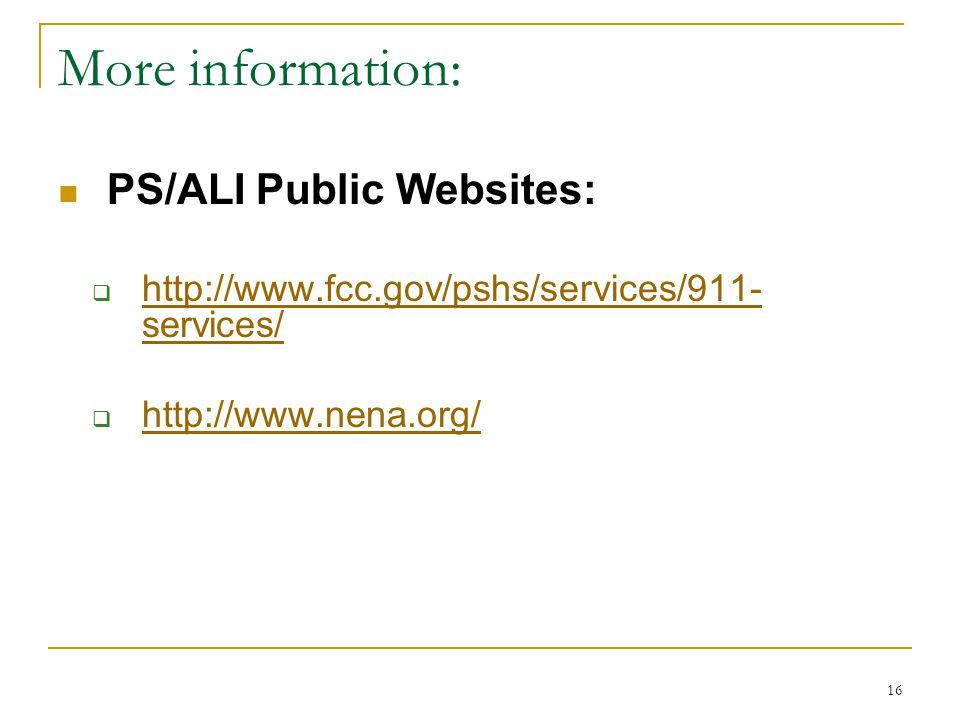 More information: PS/ALI Public Websites: