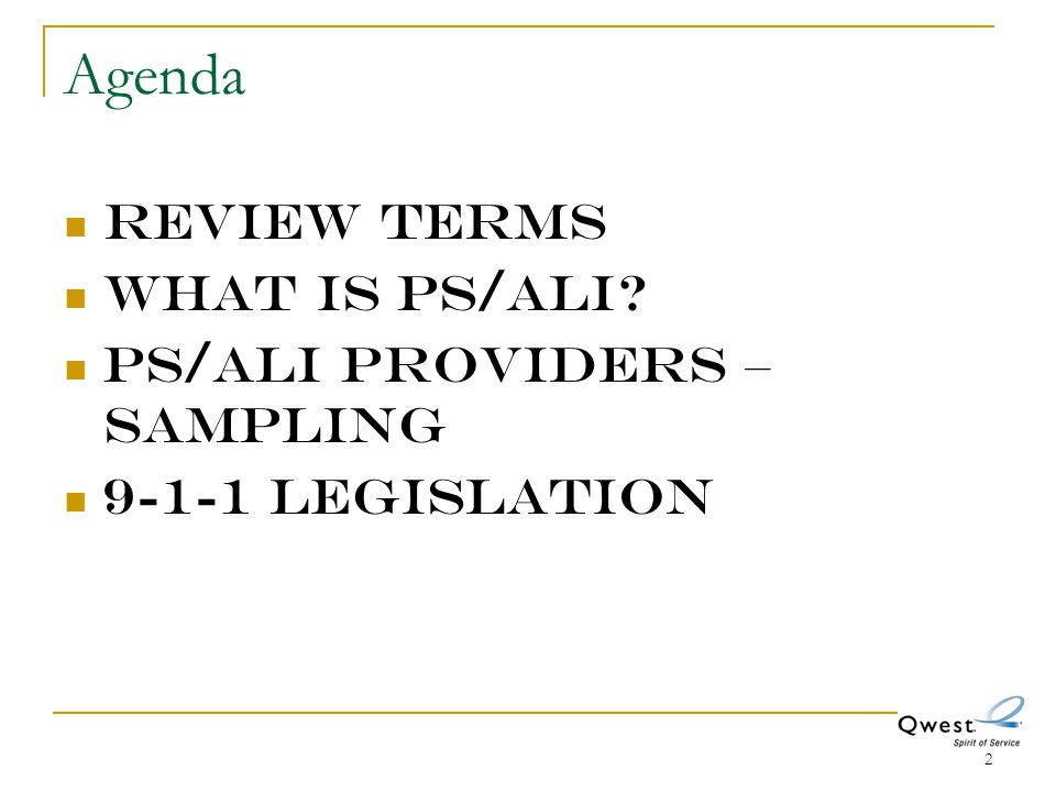Agenda Review Terms What is PS/ALI PS/ALI providers – sampling