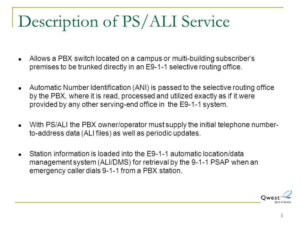 Description of PS/ALI Service