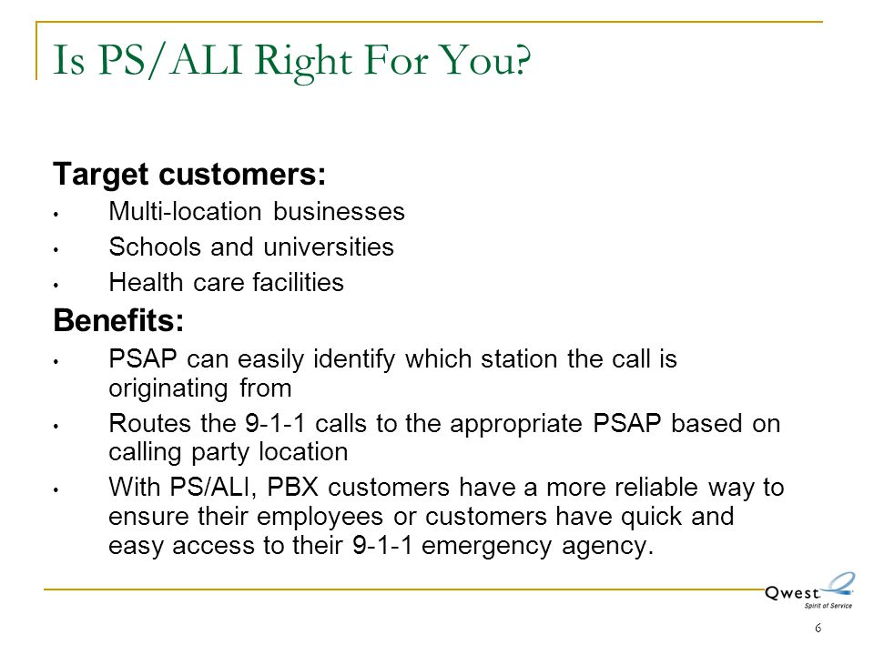 Is PS/ALI Right For You Target customers: Benefits: