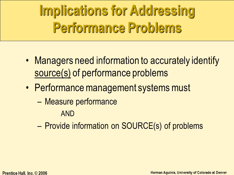 Implications for Addressing Performance Problems