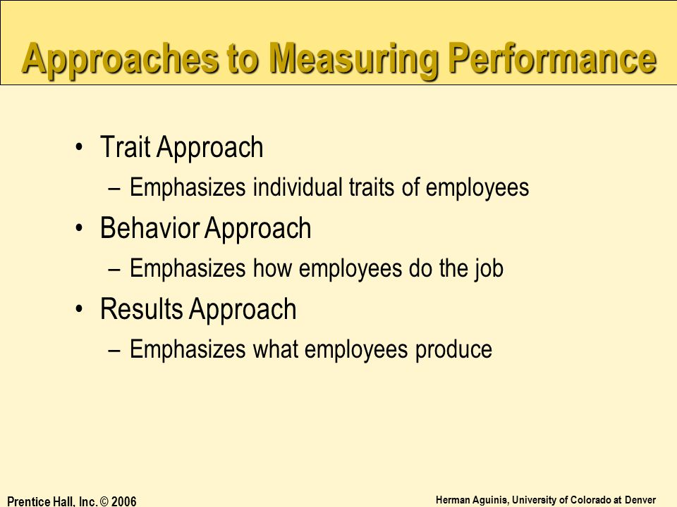 Approaches to Measuring Performance