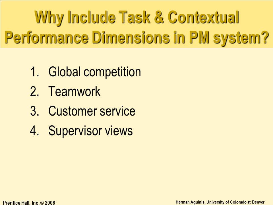 Why Include Task & Contextual Performance Dimensions in PM system