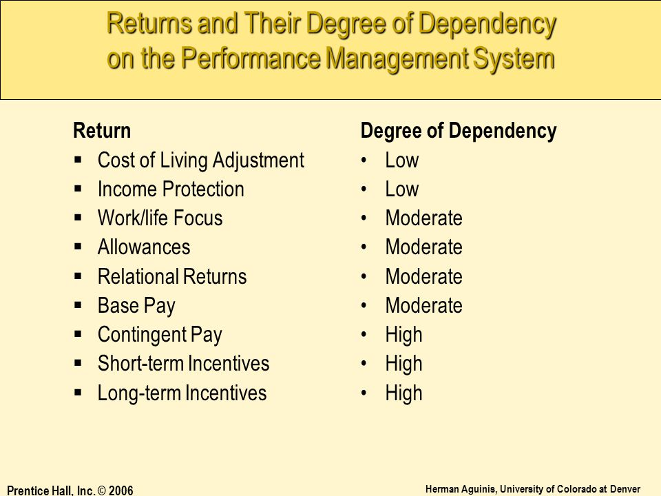Returns and Their Degree of Dependency on the Performance Management System
