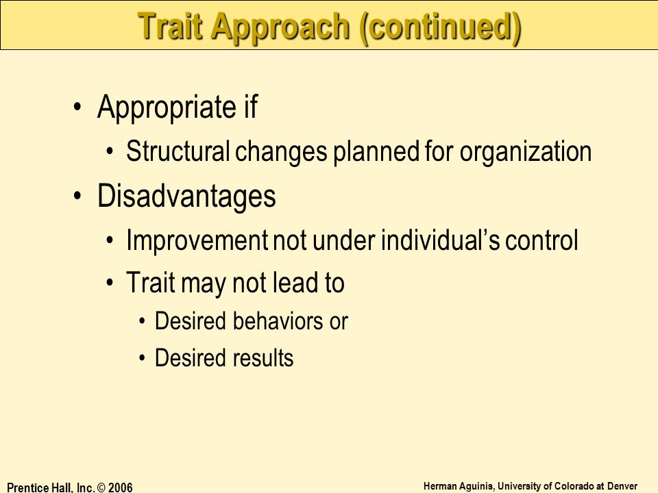 Trait Approach (continued)