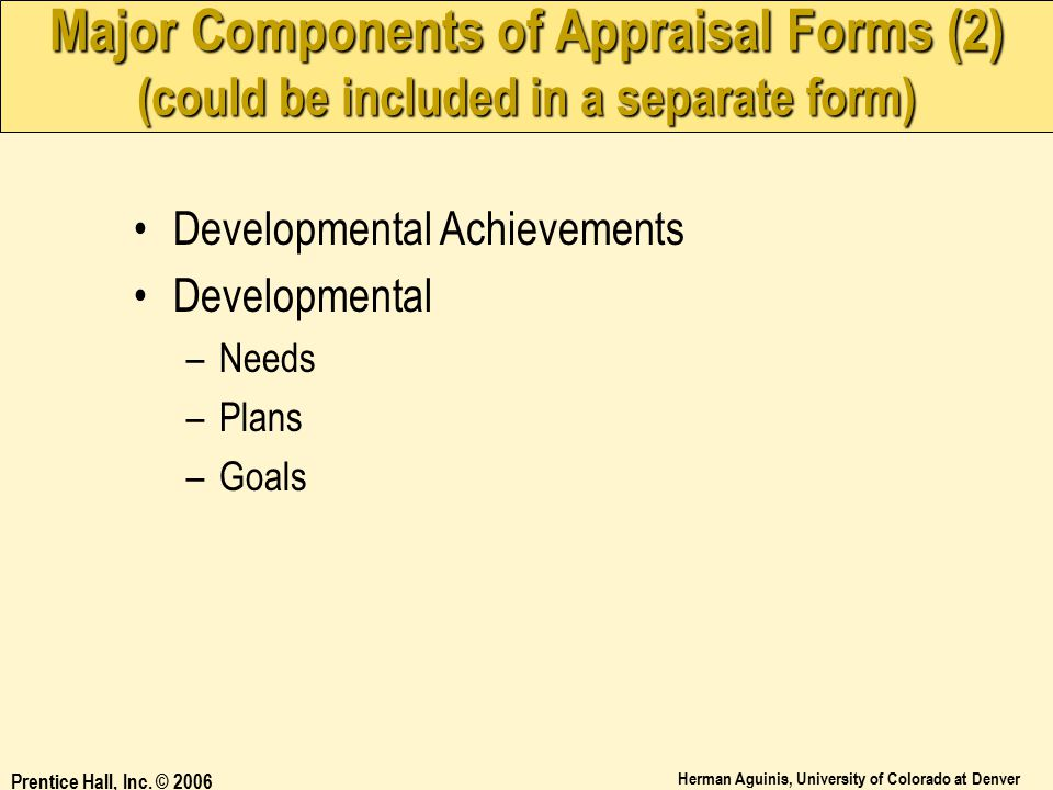 Major Components of Appraisal Forms (2) (could be included in a separate form)