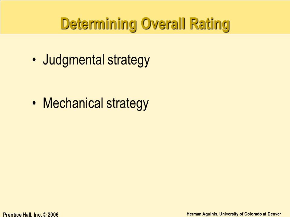 Determining Overall Rating
