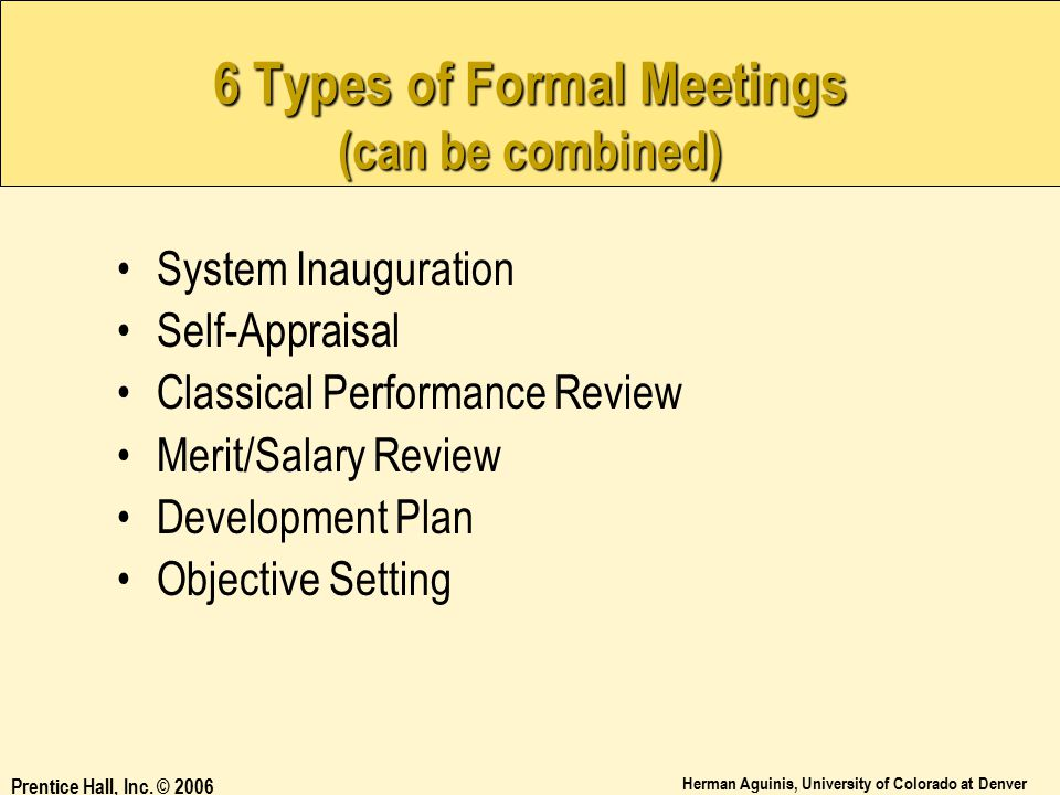 6 Types of Formal Meetings (can be combined)