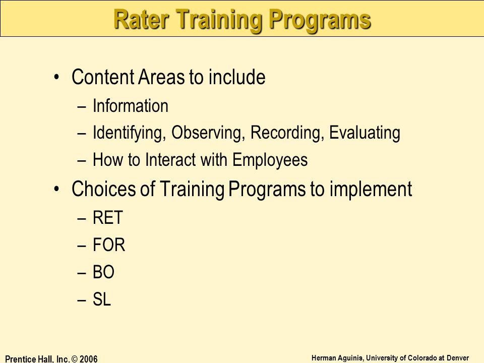 Rater Training Programs