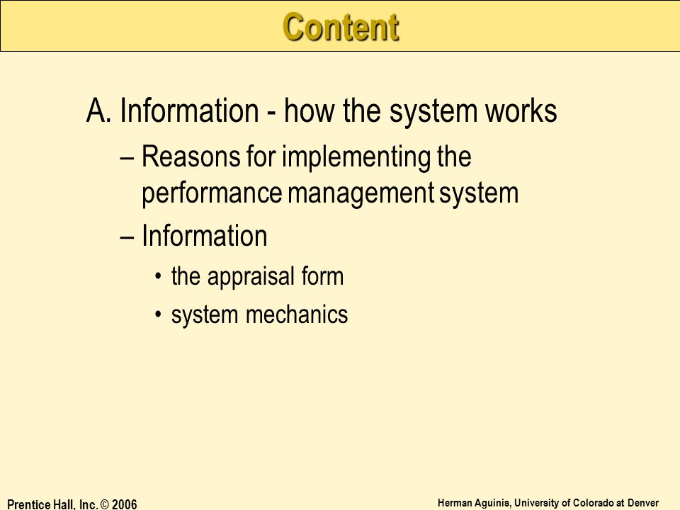 Content A. Information - how the system works