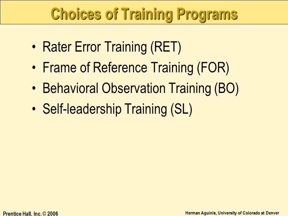 Choices of Training Programs