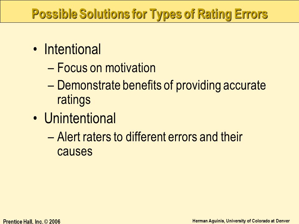 Possible Solutions for Types of Rating Errors