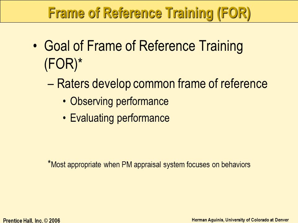 Frame of Reference Training (FOR)