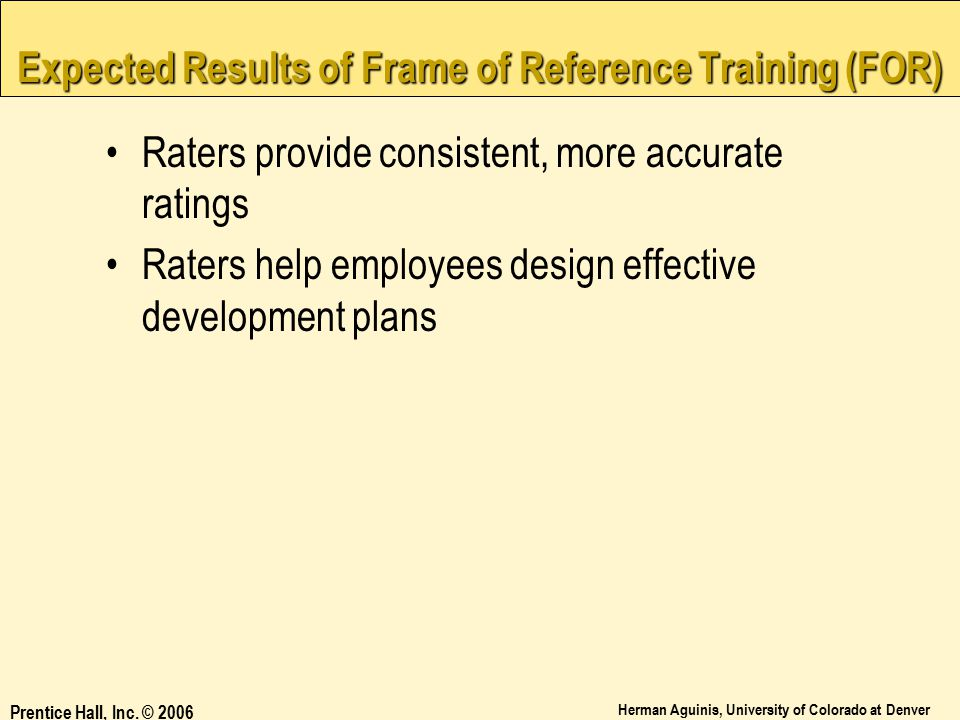 Expected Results of Frame of Reference Training (FOR)