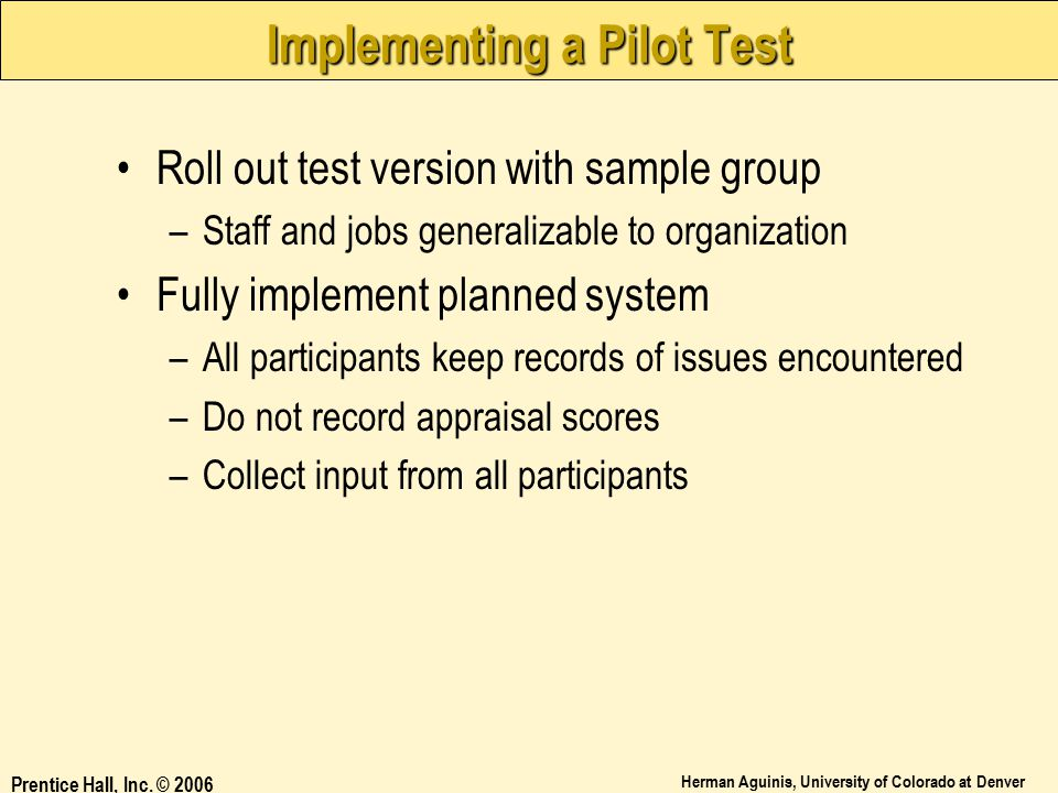 Implementing a Pilot Test