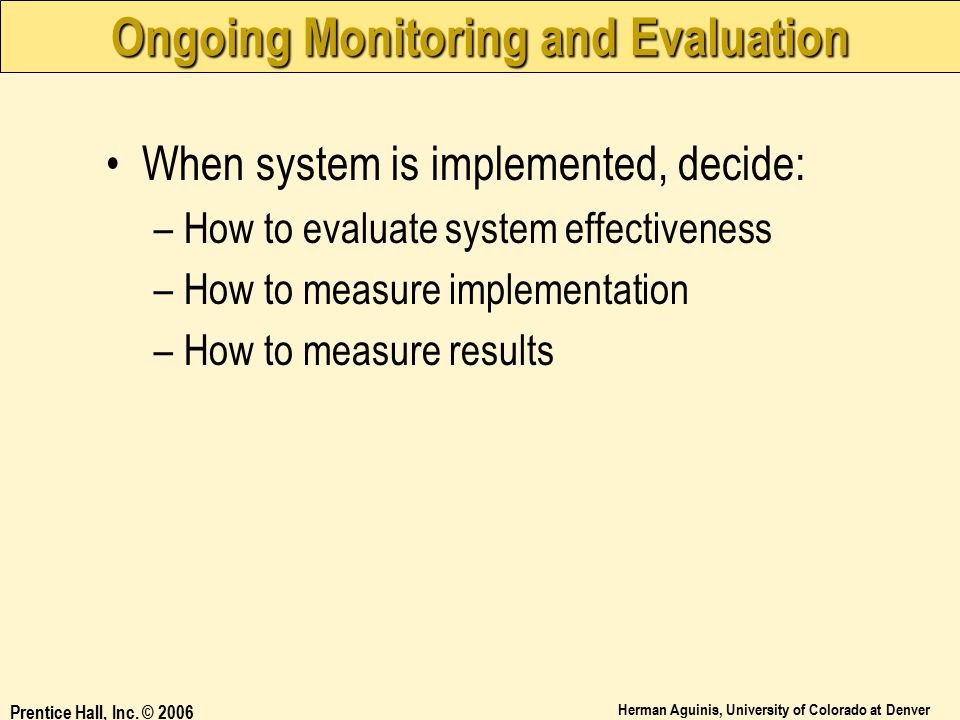 Ongoing Monitoring and Evaluation